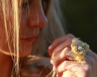 yellow pearl ring, yellow silk beaded ring, beaded textile ring, yellow fairy ring, fiber art ring, beaded silk ring