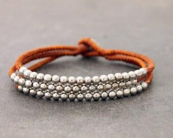 Rust Brown 3 Strand Silver Bracelet