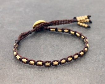Simple Brown Faceted Brass Unisex Men Women Woven Bracelet