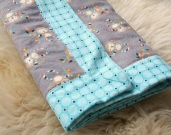 Modern Flannel Blanket, Monkeys, Blue Circles, Receiving Blanket, Baby Blanket, Flannel Receiving Blanket, Baby Girl, Baby Boy, Handmade