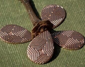 Teardrop 20mm x 14mm Blank for Metalworking Stamping Texturing Soldering in Hexagon Texture - Jewelry Supplies