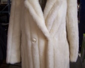 Vintage Faux Mink Coat, Long Dress Coat, Intrigue by Glenoit, Silver/White, Med. 10-12, 70s,1980s