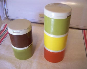 Vintage Tupperware Spice Shakers, Stackable, 5 Containers 1970s,  Orange, Brown, Green, Yellow,Storage Containers