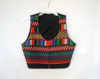 1990s Embroidered Vest, Fitted , Colorful Bohemian Style,  Large L