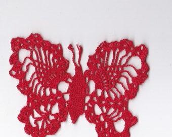 "Red Butterfly ~ Hand Crocheted Light Weight Cotton Thread Butterfly Shape ~ Pineapple Pattern Wings ~ 4"" Across  ~ 2 1/2"" High ~ Mint"