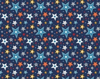 Play Ball 2 by Lori Whitlock for Riley Blake C5132 Stars in Navy - 1 yard 8 inches