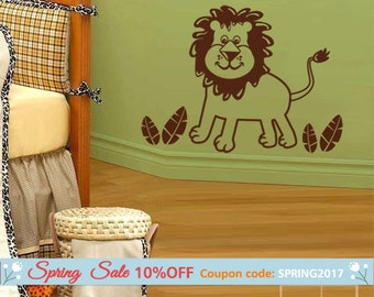 Lion Wall Decal, Jungle Animals Wall Decal, Lion Wall Sticker, Little Jungle Lion Wall Decal for Kids, Lion Nursery Baby Room Wall Decal