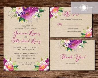 Rustic Wedding Invitation Printable, Country Wedding Invitation, Digital File, Wedding Invitation, Floral Invite, Purple, jadorepaperie