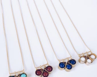 Tobiko Small Clover Necklace - Brass/Gold