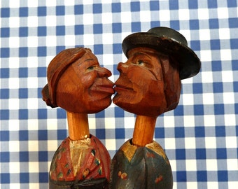Antique Bottle Stopper Cork German Carved Kissing Couple Heads on Long Necks Bavarian Folk Art
