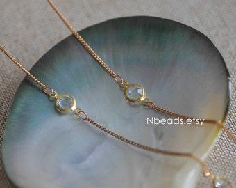 Unplated Brass Designer Chain, Transparent Glass Flat Beaded Links 7mm (#RB-030)/ 1 Meter=3.3ft