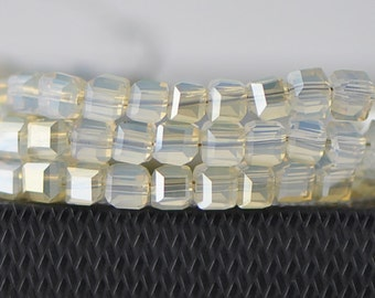 Glass Crystal Cube Faceted Beads 6mm, Opal Gold -FZ0636 / 95pcs