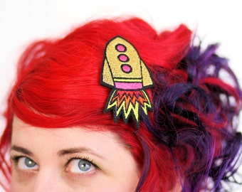 Gold Rocket Hair Clip, Space Ship Barette