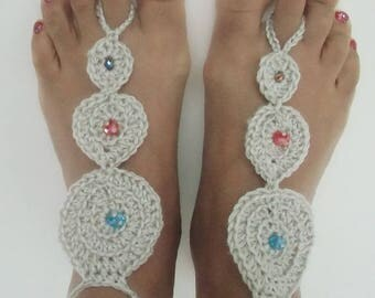 Crochet Barefoot Silver Sandals, Beach Wedding Barefoot, Beachwear Barefoot, Summerwear Poolside Barefoot