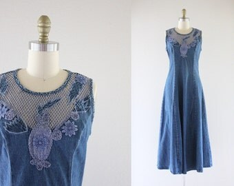denim cutwork dress