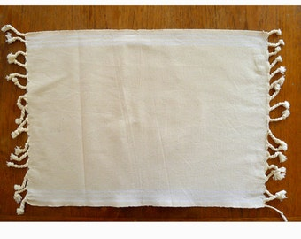"""4 Hand-Loomed Unbleached 100% Organic Cotton, Simple Chic Ecru Neutral Color Placemats with Hand Tied Tassels 15"""" X 21""""    4 Placemats"""