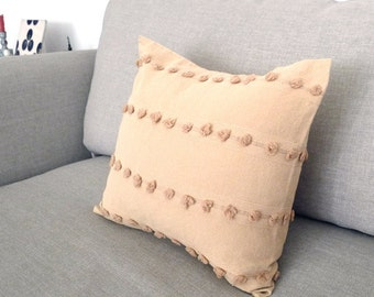 "100% Cotton, Popcorn Pattern, Beige Ecru Decorative Pillowcase 15"" X 16"""