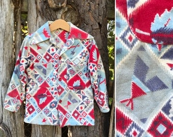 Vintage 50s childrens cotton flannel southwestern button down shirt / Tomahawk Teepee Bow and Arrow print / toddler size 3 4 5