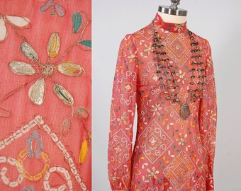 Vintage 60s 70s sheer pink INDIAN maxi dress / Metallic floral embroidery / Bohemian batik print dress