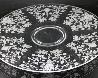 Duncan and Miller, First Love Etched, 13 Inch Torte Plate