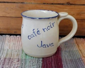 Handmade white ceramic mug - pottery cappincino mug -  coffee mug - rustic white with blue edging - Pottery cup - cafe au lait mug - m2608