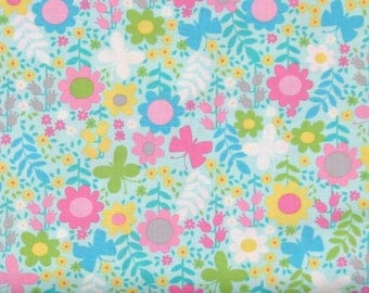 "END OF BOLT - 23"", Teal, Pink, Yellow & Lime Green Floral on Light Teal 100% Cotton Quilt Fabric on Sale, Tribeca Gabrielle Collection C4516"