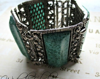 FaBuLouS LaRGe CHuNKy GYPsY CowGiRL GReeN & SiLVeR BRaCeLeT!