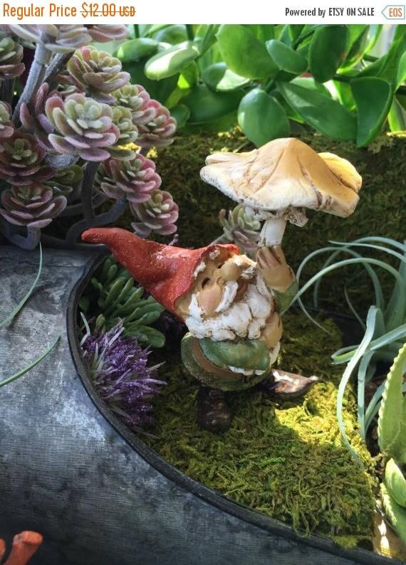 SALE Garden Gnome with Mushroom Umbrella, Miniature Gardening Figurine, Mini Gnome, Garden Decor, Topper