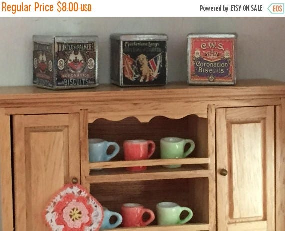 SALE Miniature Biscuit Tins, Dollhouse Miniatures, 1:12 Scale, Set of 3 Tins, Dollhouse Accessories, Miniature Tins, Dollhouse Decor