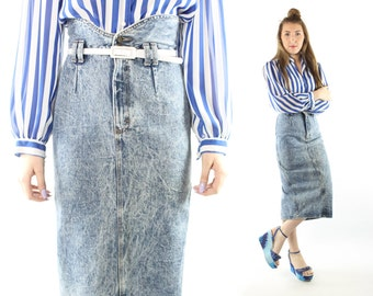 Vintage 80s Pencil Skirt High Waisted Acid Wash Denim Jean Fitted Tea Length Wiggle 1980s  S Small Zena