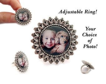 Custom Photo Ring / Photo Ring / Photo Jewelry / Personalize Gift / Mother's Day Ring / Grandmother Ring / Mother's Ring / Picture Jewelry