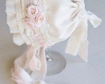 Infant Bonnet. Baby Bonnet. Linen. Fabric Bonnet. Ivory. Pale Pink. Vintage Style. Savannah. Tolola Designs