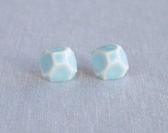GEM stud earrings. geometric white porcelain, cerulean blue ceramic glaze, sterling silver posts, trending jewellery