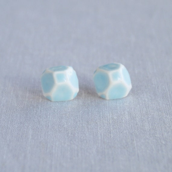 GEM stud earrings. geometric white porcelain, cerulean blue ceramic glaze, sterling silver posts, trending jewellery