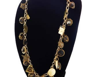 PATRICE Brass Gold Chunky Chain Link Vintage Charm Necklace