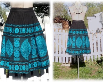 Vintage Boho Blue & Black Embroidered Novelty Skirt w/Aztec Calendars and Faces - Heavy Cotton with Dense Mayan Embroidery sz M