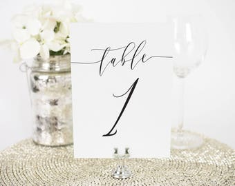 Romantic Calligraphy Table Numbers - 4x6""