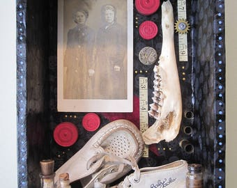 Mixed media shadow box, art, assemblage, 3D art, found objects, creepy vintage junk