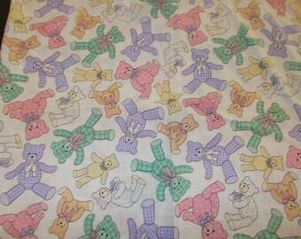 Gingham Teddy Bears Purple Green Yellow Pink Cotton Fabric Teddy Bears