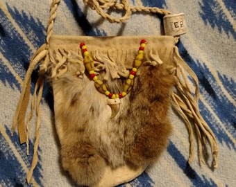 RESERVED for alienmonk  Bobcat Amulet or Medicine Bag of Brain Tan Deer Hide with Trade Beads and Bobcat Claw