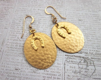 Lucky Earrings -- Gold Oval Drops -- Gold Disc Earrings -- Good Luck Earrings -- Horseshoe Earrings -- Hammered Oval Earrings