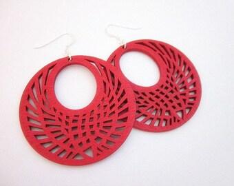 Red Drop Earrings -- Wooden Drop Earrings -- Laser Cut Wood Earrings -- Red Teardrop Earrings -- Red Wood Earrings -- Big Red Earrings