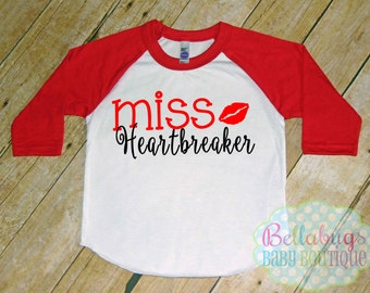 Miss Heartbreaker Raglan Tshirt - Valentine's Day - Size 2 to 12 - Baseball Shirt