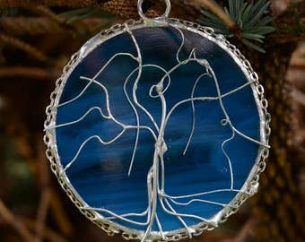 Stained Glass Blue Tree of Life Pendant OOAK with chain or thong variation