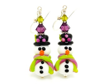 Snowman Earrings, Christmas Earrings, Lampwork Earrings, Glass Bead Earrings, Christmas Jewelry, Beadwork Earrings, Fun Earrings