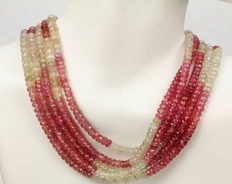 ON SALE Umba Sapphire Beads Rondelles Shaded Pink and White Sapphire Rondels Roundels Mined Precious Stone   3 to 3.5mm   4-Inch Strand