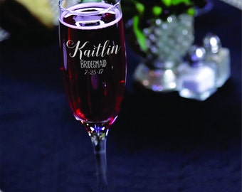 Personalized Champagne Glasses Bridesmaid Groomsman Toasting Glasses Sold Individually
