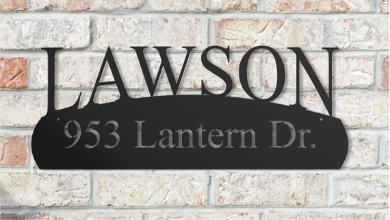 Personalized Metal Street Address Name Sign for Outdoor Use