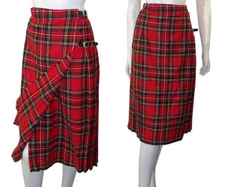 Vintage Red Plaid, Pleated Tartan Kilt skirt with Blanket Pin The Scottish Wool Shop