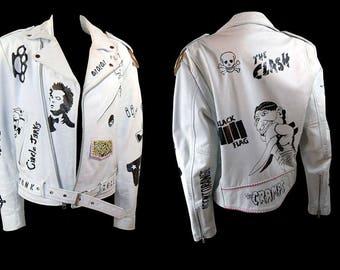 OOAK Vintage 80's Punk Rock White Leather Jacket Hand Painted Motorcycle Jacket, Size 38, Black Flag, Agent Orang, The Cramps